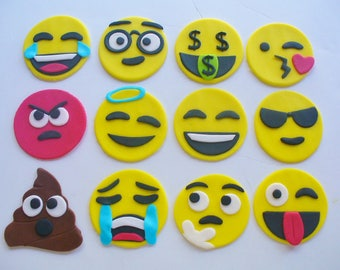 12 EMOJI Edible Fondant Cupcake Toppers All Different Poo Too
