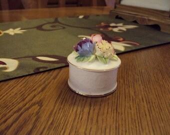 Vintage Crown Staffordshire Hand-Painted Fine Bone China Trinket Box