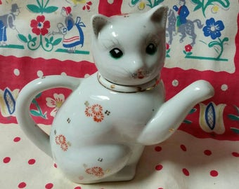 Porcelain Cat Creamer/Teapot Made in China with Red Flowers & Gold Leafing