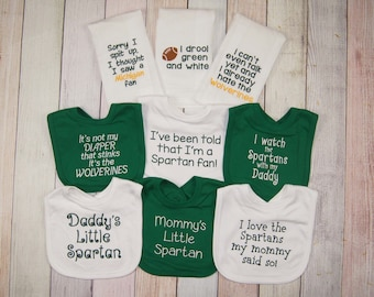 Michigan State Spartans Football Fan Baby Gift Set - MSU Baby Girl - MSU Baby Boy - Spartan Bib - Spartan Baby Girl - Spartan Baby Boy