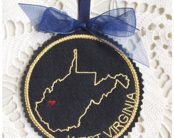 I Heart West Virginia Coaster and Ornament Machine Embroidery Design Instant Download I Love West Virginia with Positionable Heart