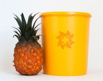 Vintage Yellow Orange Tupperware Nesting Kitchen Canister, Tupper Ware Storage Container