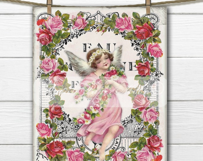 Digital Shabby Chic Vintage French Fairy, Fairy with Roses, French Typography, Instant Download, French Pillow Transfer Image