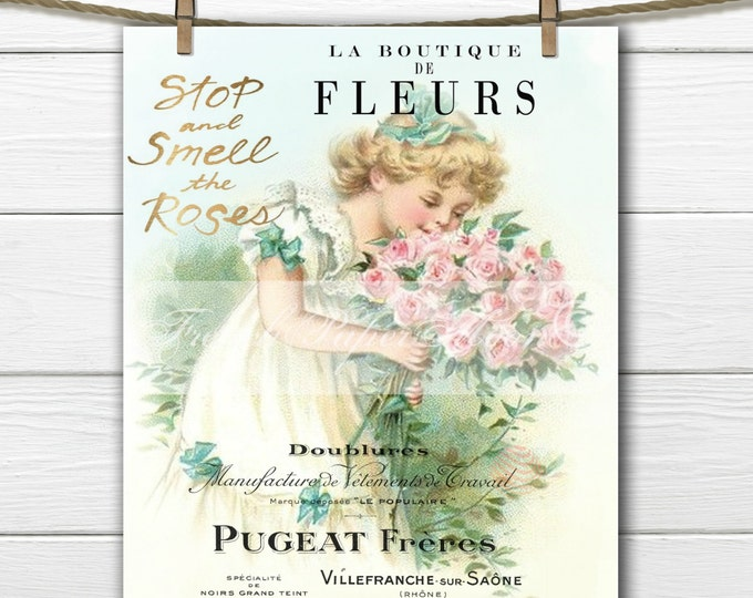 Shabby Chic Victorian Girl Digital, Roses, French Pillow Transfer Graphic, Iron On Fabric Digital Download