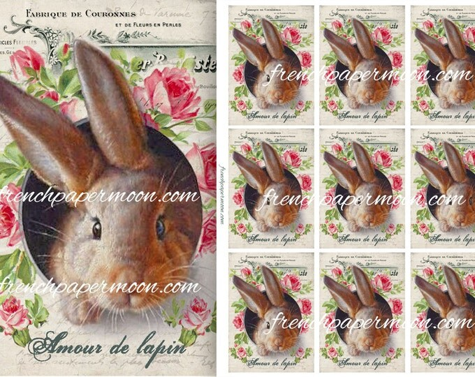 Vintage Digital ATC Shabby Bunny, Easter Bunny, Rabbit, French Graphics, French Easter Tags, ATC sheet