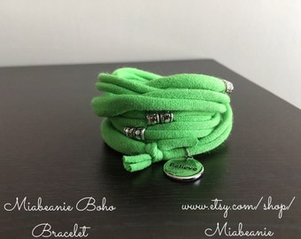 Sale-Lime Green Fabric Bracelet Cuff/Necklace With Believe/Inspire Silver Charms