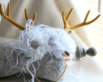 girls white headband - deer antler headband - white headband - flower headband - Christmas headband - antler headbands - deer headband