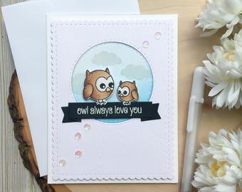 Mothers Day Card, Owl Card, Owl Mothers Day Card, Mom Card, Mothers Card, Mothers Day, Owl Always Love You, Baby Owl Card, Owl,