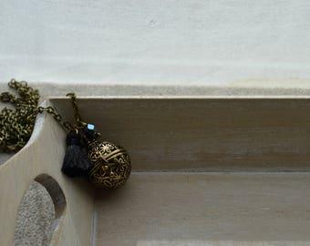 pregnancy Bola, black Pompom, black crystal Pearl