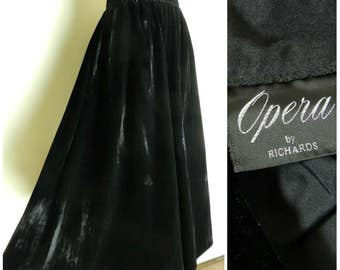 70s 80s VELVET  jet black high waist full swoop maxi skirt u.k. 12 - 14 M