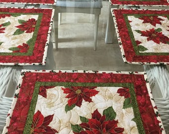Christmas Placemats, Quilted Placemats, Poinsettia Placemats, Sold in sets of 2, Table Placemats, Holiday Placemats, Table Decor, Gifts .