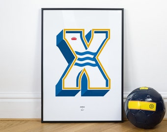 X is for Xerez, Football Typography Print