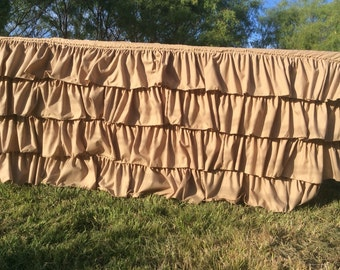 Ruffled Tan Cotton Tablecloth