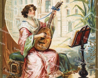 Victorian Trading card of a pretty woman playing music