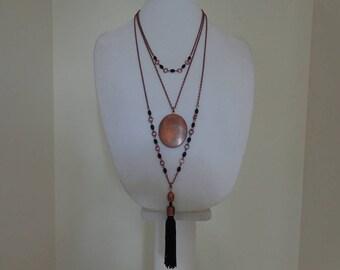 Long Boho Necklace, Long Boho Pendant Necklace, Long Beaded Chain Necklace, Long Copper Necklace, Long Locket Boho Necklace