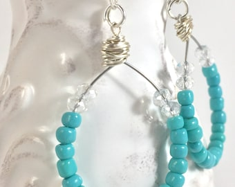 turquoise earrings, turquoise dangle earrings, teardrop earring, drop turquoise earrings, wire wrapped earrings