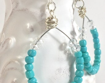 Beaded turquoise earrings - Turquoise hoop earrings for women - Wire wrapped earrings - Turquoise dangle earrings - Turquoise bead earrings