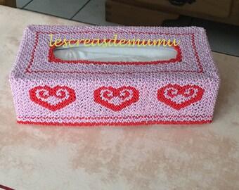 Schéma boîte à mouchoirs rectangulaire en tissage danois