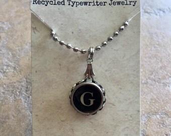Vintage Typewriter Key Necklace - G