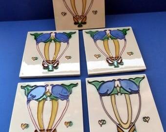 Set of FIVE. Vintage Art Nouveau Reproduction Ceramic tiles by the Decorative Tile Works. Each Six inches square