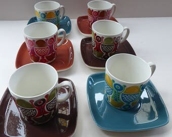 Set of Six Rare 1970s FIGGJO FLINT, NORWAY Cups and Saucers with fabulous abstract Granada design