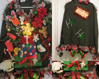 Hysterical Present Tree with Light up Star Tacky Ugly Christmas Sweater Mens Hodge Podge of Christmas Light up Snowman sz XXL Big Huge Bells