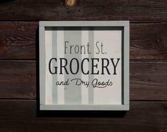 Grocery and Dry Goods Wood Sign/Customize Name/Modern Farmhouse/Grainsack Strip/Fixer Upper