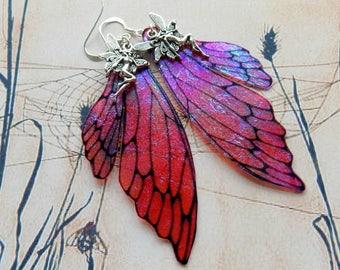 Fairy Wing Earrings, Fairy Earrings, Faerie Earrings, Iridescent Raspberry Red Earrings, Hand Painted, Red Dangle Earrings, Boho, Hippy