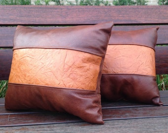 Set of Leather Ranch Pillows
