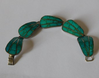"""Old Southwestern Sterling Silver and Channel Chip  Inlay Turquoise Link Bracelet Signed RMS """"Guadmex"""" (Guadalajara, Mexico) 1930's or 1940's"""