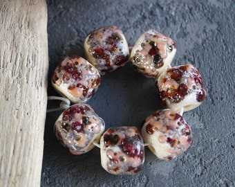 Lampwork beads. 7 like ancient. Pink