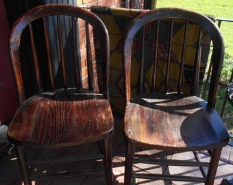 Antique Railroad Station Chairs - Set of 2  LOCAL P/U ONLY