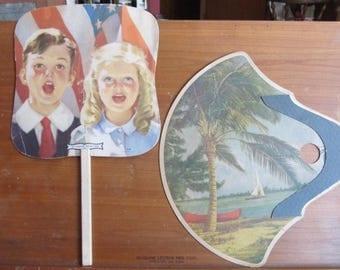 Cardboard stick fans; hand fans; funeral fans; church fans; 1950's