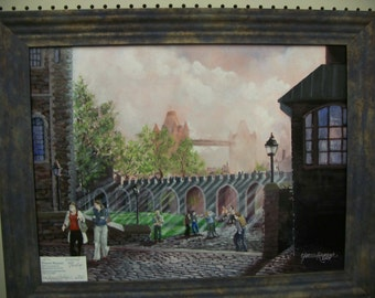 Original Oil Painting, Tower of London Bridge, on Canvas
