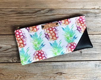 Mini Clutches, Faux Leather Clutches, Wristlet, Faux Leather Wristlet, Mini Wristlet, Wristlet Purse, Leather Wristlet, Pineapple Print