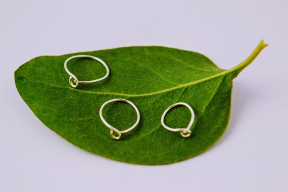 Thin Silver Nose Rings, non-tarnish silver wire, different dimensions, snug piercing, body jewelry, nose, nose hoop- 3 pack- Thread Through