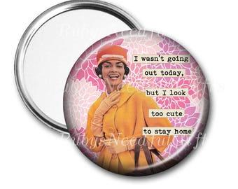 Pocket Mirror, Retro Woman Mirror, African American Woman Mirror, Purse Mirror, Birthday gift, Hostess Gift, Too Cute,  CHOOSE 2.25 or 3.5