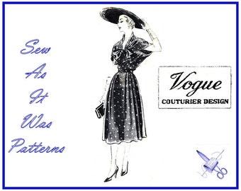 "1950s Rare Vogue Couturier Design 575 Dress Sailor Style Front Drape Bow Skirt Side Soft Pleats Vintage Sewing Pattern Size 18 Bust 36"" 92cm"