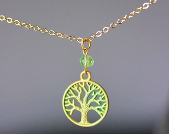 Tree Of Life Necklace Gold Tree of Life Tree Of Life Jewelry Patina Necklace Green Patina Gold Green Necklace Tree Necklace Kabala Jewelry