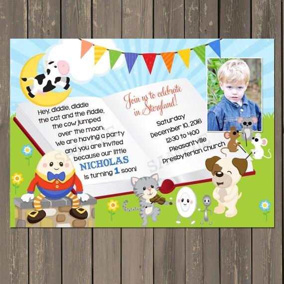 Nursery Rhyme Birthday Invitation, Boys Story Book birthday party invitation, book party invite ...