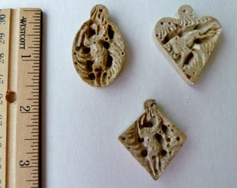 Vintage Carved  Soapstone Pendants