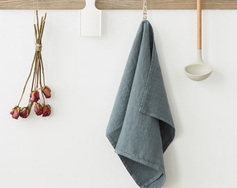 Blue Fog Stone Washed Linen Tea Towel