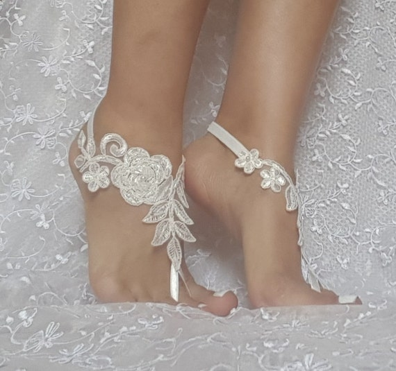 Wedding sandals Free ship ivory beaded Beach bridal shoe wedding accessory barefoot sandals shoes prom party bangle beach anklets bridal