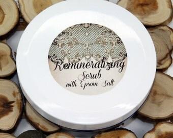 Remineralizing scrub with Epsom salt, mineral scrub, rejuvenating scrub, organic scrub, vegan scrub