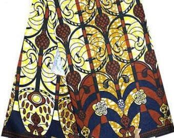 African Wax Fabric, per yard cut, dutch wax, 100% cotton brown, yellow, blue, white, geometric shapes