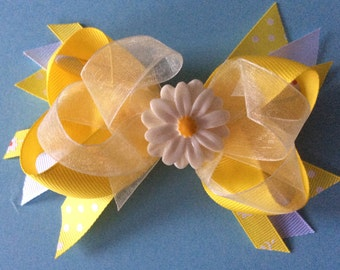 Easter Summertime Daisy Layered Boutique Hair Bow