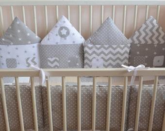 Crib bumper grey houses