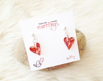 Swarovski elements crystal red heart silver plated / sterling silver earrings. Swarovski wild hearts red magma.