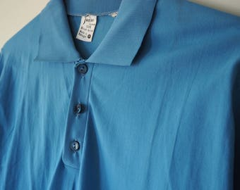 Texhor 'British Nylon' 60's deadstock long sleeve polo shirt BLUE or BROWN M