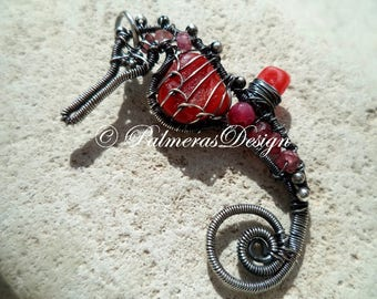 RED seahorse wire wrapped seaglass pendant.